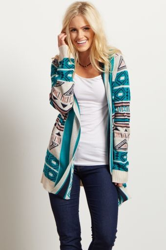 Jade Tribal Print Knit Cardigan