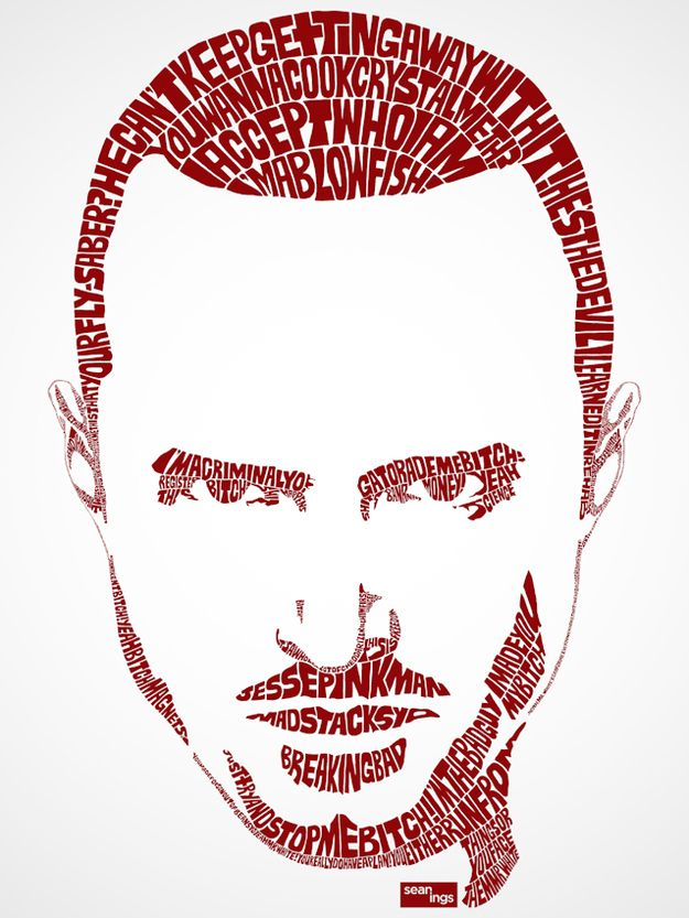 And one of Jesse Pinkman and Walter White for good measure. | Pop Star Portraits Made From Their Famous Lyrics
