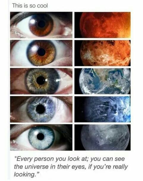 I'm probably the top iris color, and the best person in the world (soul mate) has the very bottom iris color. Beautiful. Crystal. Blue. ❤️