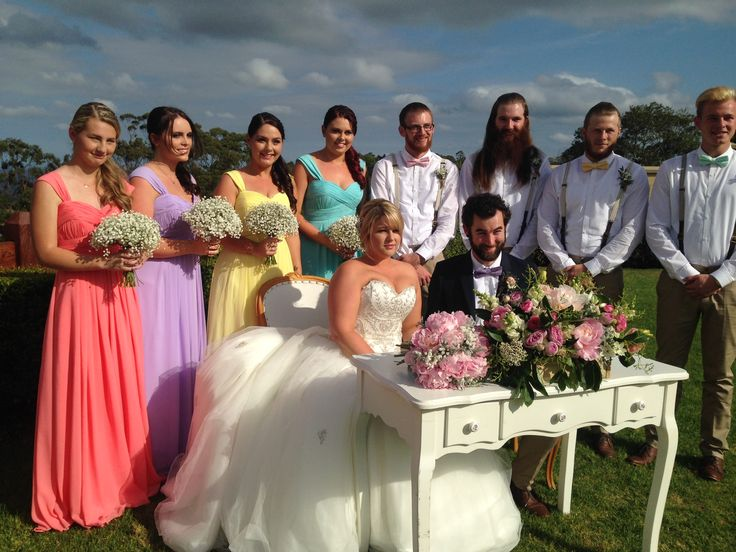 Kaitlyn and Matt's rainbow bridesmaid theme at Flaxton Gardens Sunshine Coast Hinterland  www.suzanneriley.com.au