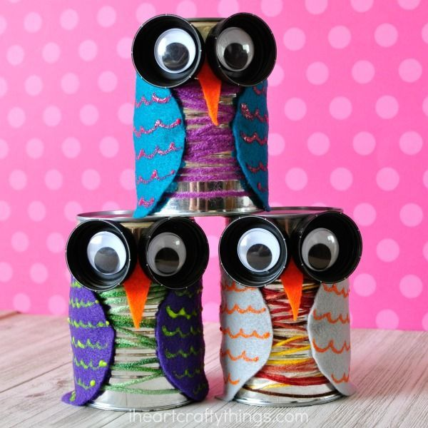 This tin can owl craft is colorful and cute and is perfect for the fall season. Fun bird craft for kids, preschool craft, and recyclable kids craft.