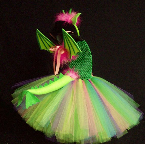 4pc MYSTICAL DRAGON COSTUME Set w/ Tutu Dress, Headband, attachable Tail & Wings, Dino, Dinosaur, Birthday, Party, Girl, Toddler, Girls