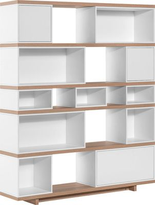 Regał szeroki jasny (Dąb/biały) - Regały i witryny - Typy mebli - Meble VOX
