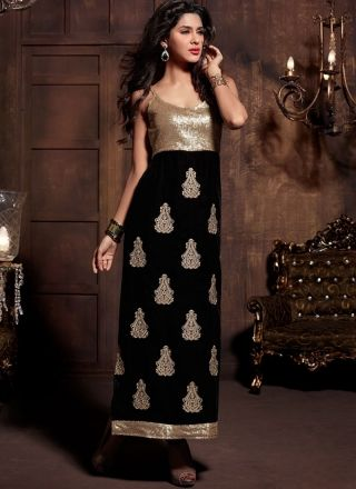 Lustrous Black Indian Velvet With Booti Work Churidar Suit