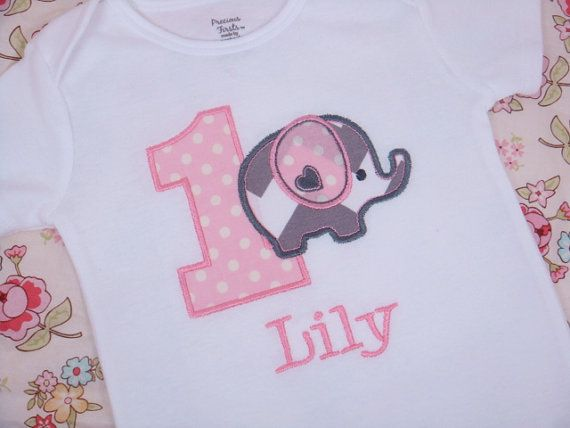 Elephant Birthday Shirt - Elephant Birthday Onesie - Elephant Birthday Party - First Birthday Shirt - Girls First Birthday. This reminded me of you guys. @Jami Beintema queen @Laura Jayson massie @Heather Creswell Marie