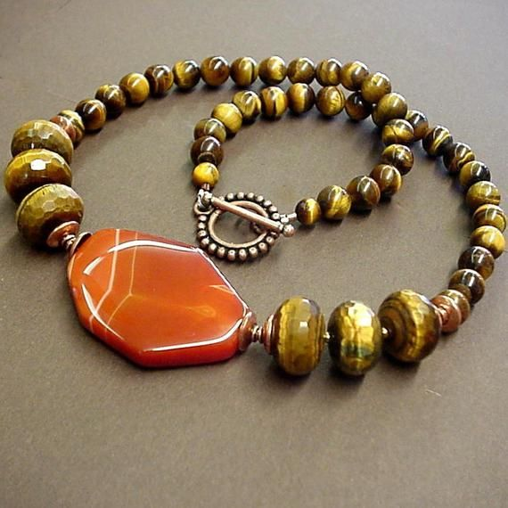 Tiger/'s Eye Quartz and Wooden Beads Necklace and Earrings