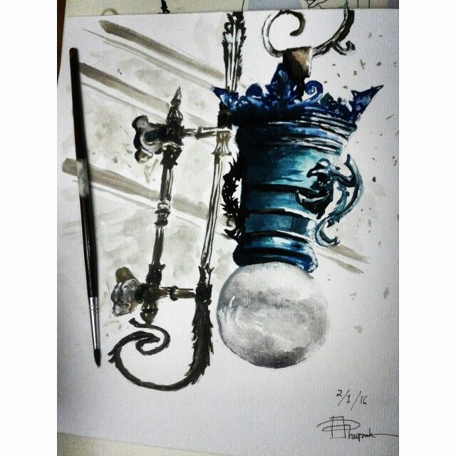Lamp watercolor painting I re-draw as practise from original picture by Julia Barminova  Check out my Instagram @mpupuutt