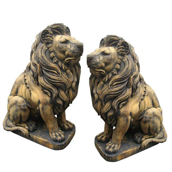 Pair of Life Size White Marble Lions on Base - IronGate