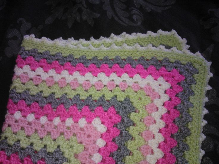 The picot edging on the mini blanket. Inspired by Daisy Cottage Designs