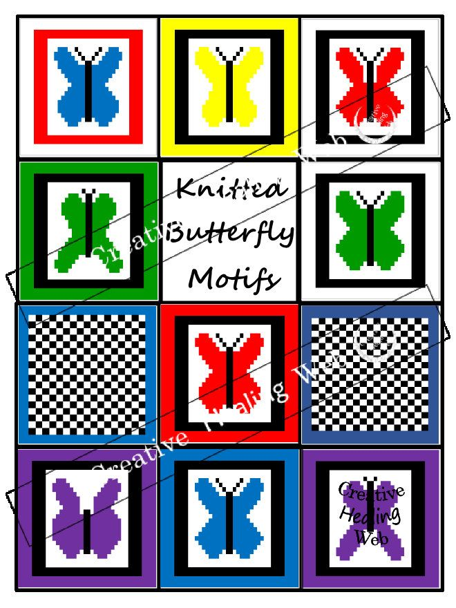 9 knitting butterfly graph designs plus 2 bonus checker graph motifs by CreativeHealingWeb on Etsy. Knitting instructions included.