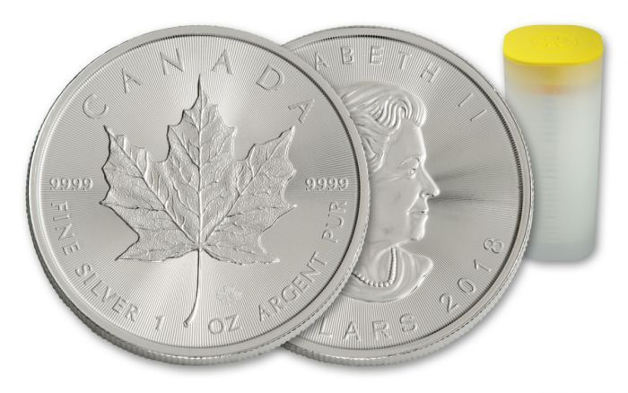2018 Canada 1 Oz Silver Maple Leaf Bullion 25 Coin Roll Bu Govmint Com Silver Maple Leaf Canadian Maple Leaf Coins