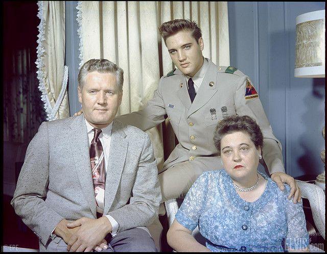 Elvis Presley with his Parents, Gladys and Vernon Presley