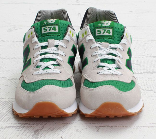 new balance 574 white and green