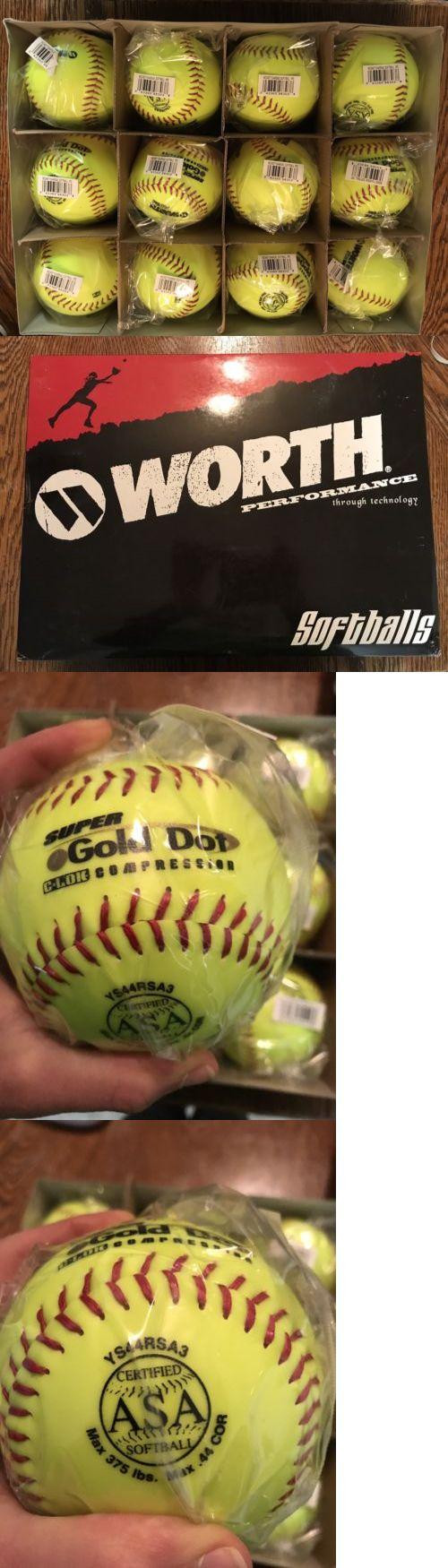 Softballs 16064: New Worth 12 Asa Super Gold Dot Compression Slowpitch Softball Red Stitch 12 Cs -> BUY IT NOW ONLY: $46 on eBay!