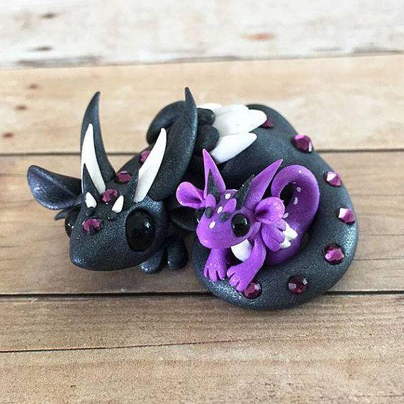 Gunmetal and Purple Mama/Baby Dragon by DragonsAndBeasties on Etsy