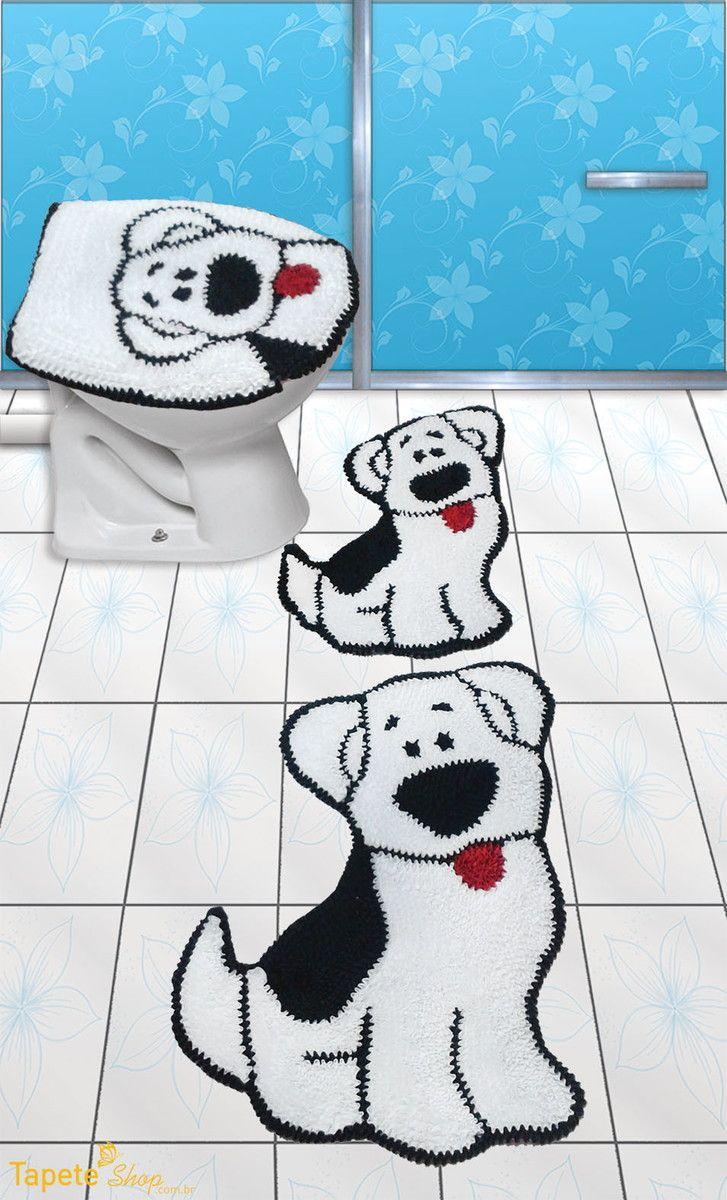 Jogo de banheiro cachorro - frufru | Tapete Shop | Elo7