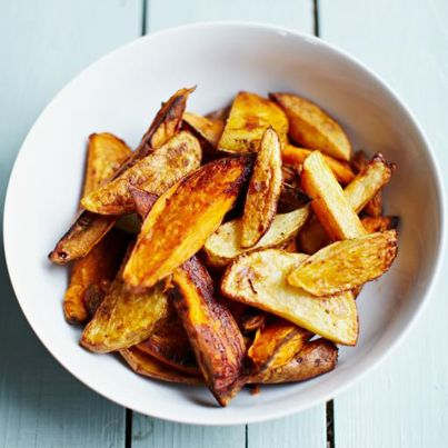 """It happens ever year. You make homemade mashed potatoes and it just so happens you have some extra potatoes. What do make with them? Variety is the spice of life, and perhaps you should give Jamie's smoky mixed-potato wedges! """"A brilliant recipe for kids,"""" Jamie says and with just a splash of oil and pinch of seasoning, it will rival any chip! http://ow.ly/r3x44"""