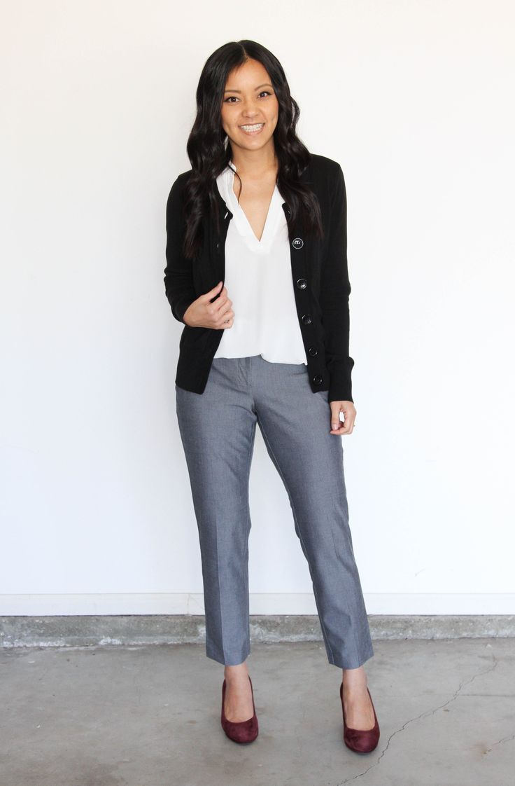 Grey pants and cardigan business casual outfit