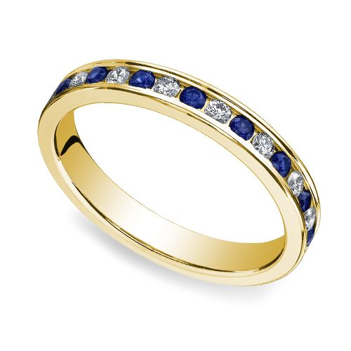 The striking contrast of blue sapphires with the light glimmer of light through diamonds adds a touch of regal sparkle to this beautiful ring: The Diamond & Sapphire Eternity Ring in Yellow Gold! http://www.brilliance.com/wedding-rings/sapphire-diamond-eternity-band-yellow-gold