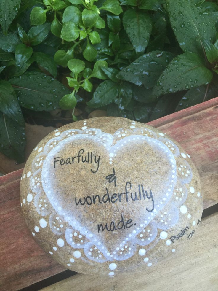 Fearfully & Wonderfully made is a snippet from a Bible verse that is very special to me, Psalm 139:14. I handprinted a white and grey heart design on this r