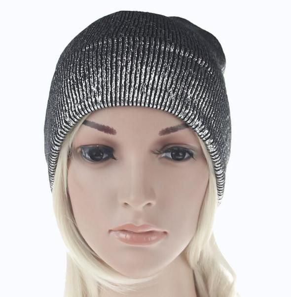 0cc682ed27 Spring Women's Bronzing Black Beanies Hat Casual Slouchy Beanie for ...