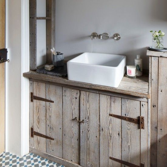 Rustic grey and cream bathroom | bathroom storage ideas | housetohome.co.uk