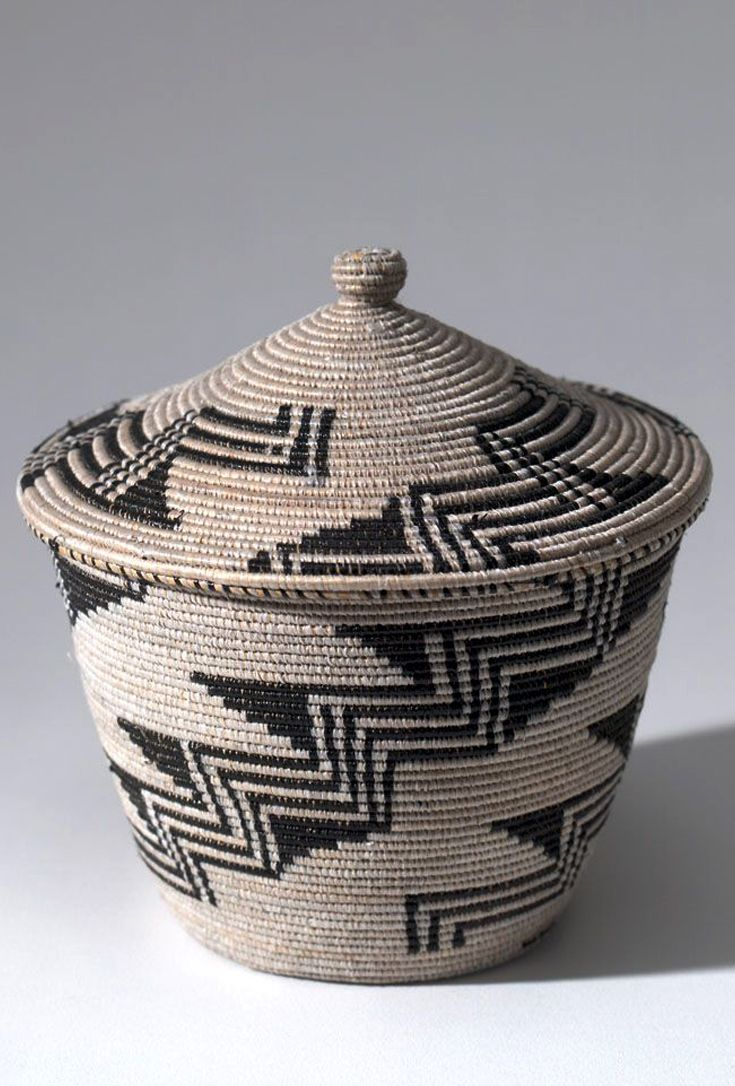 Africa | Contemporary basket with lid from the Tutsi people of Kenya | Plant fibre and plastic; coiled