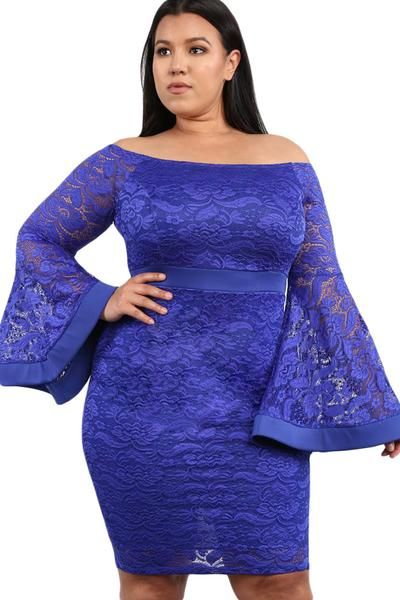 77f9da70dc Blue Plus Size Long Bell Sleeve Lace Dress | FASHION DRESSES | Lace dress  with sleeves, Plus size lace dress, Lace dress styles