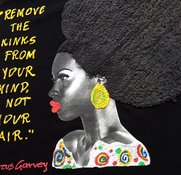 Afro Natural Hair T-shirt  Marcus Garvey Quote  Painted 3d - QuorArtisticTshirts  - 1