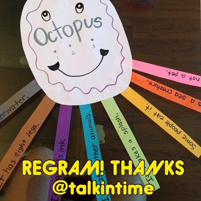 """[Source:  @talkintime]  Have some under the sea fun with the multi-syllabic target: """"octopus"""". I expanded on the artic-heavy session by having my kiddo come up with various facts about these fascinating sea creatures, as we listed them on our octopus' rainbow-hued tentacles.  Thanks  - Like our instagram posts?  Please follow us there at instagram.com/pediastaff    - - click on pin for more!"""