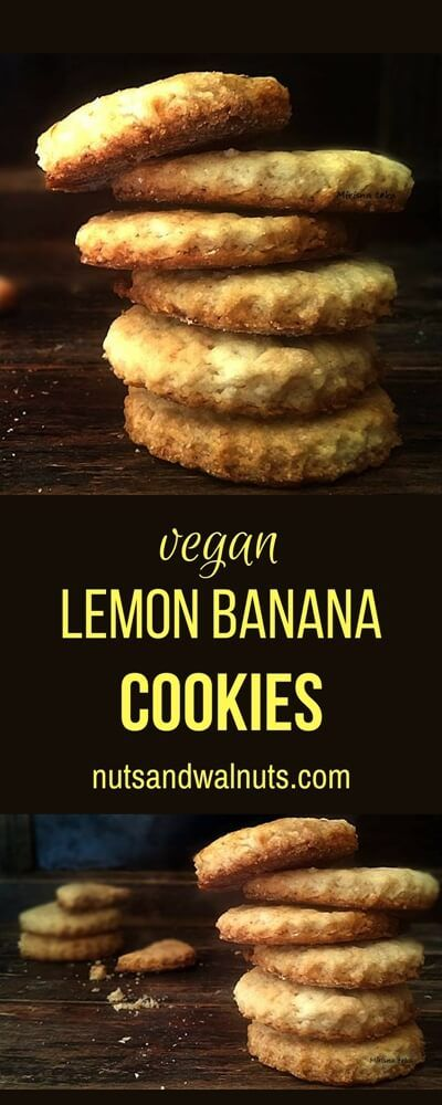 Vegan Lemon Banana Cookies, all soft with little crispiness, flakey, scented with beautiful and sparkly lemon juice and zest!