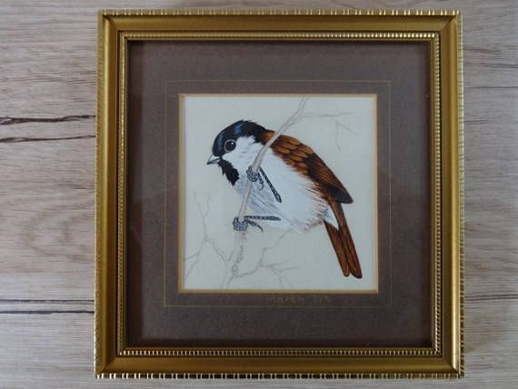 Small Picture Framed Painting on Silk of Marsh Tit bird Hand