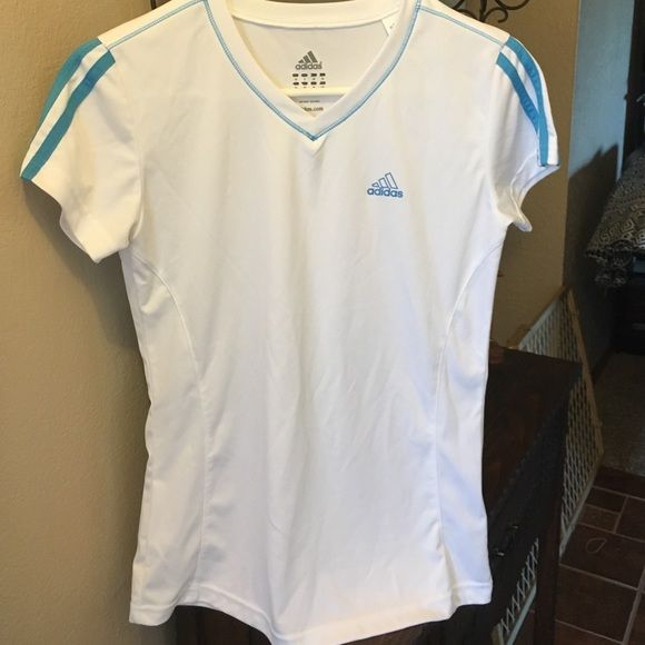 Adidas Workout Shirt Silky cool shirt for summer, v neck n slightly fitted. Adidas Tops Tees - Short Sleeve