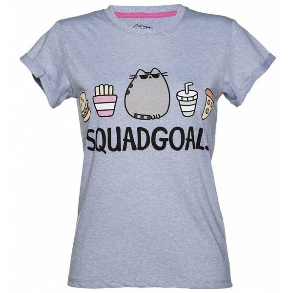 Women's Blue Marl Pusheen Squad Goals Rolled Sleeve T-Shirt found on Polyvore featuring tops, t-shirts, shirts, marled t shirt, roll sleeve t shirt, marled shirt, blue t shirt and blue tee