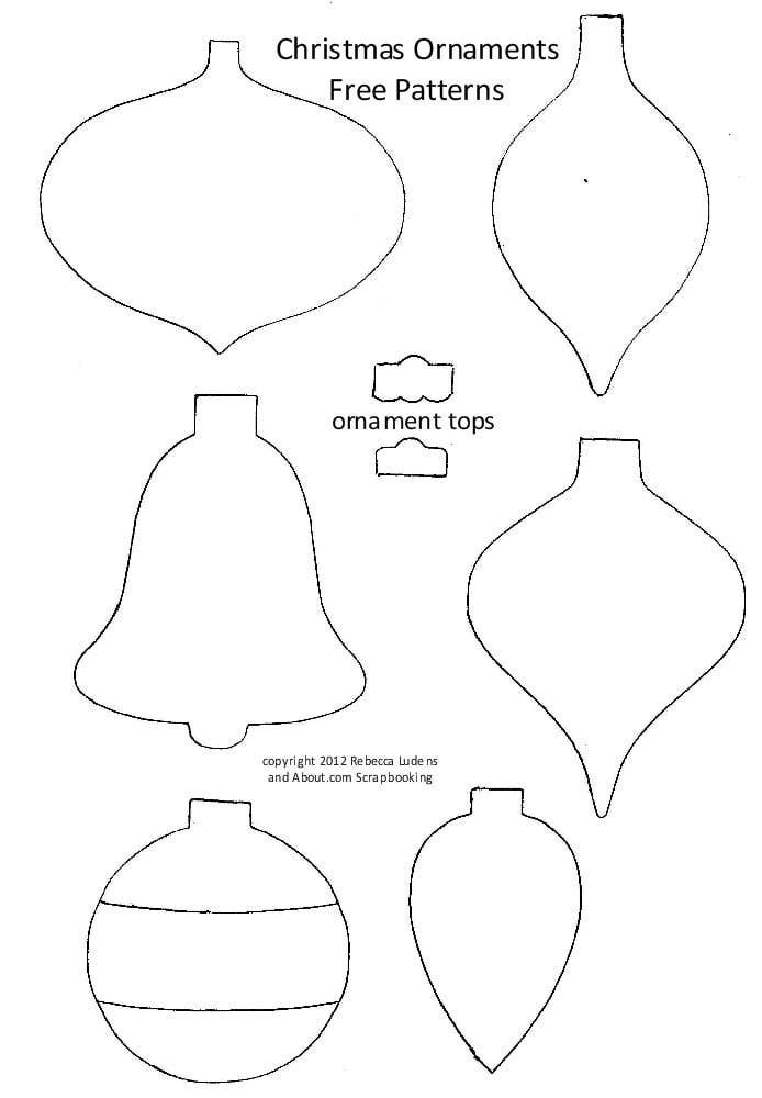 Christmas Ornament Patterns   These six free Christmas tree ornament patterns can be used to make embellishments for scrapbook pages, Christmas cards, or tags for packages. Also included on the free pattern sheet are two different ornament toppers to complete each design.   About.com: Scrapbooking 12.17.12