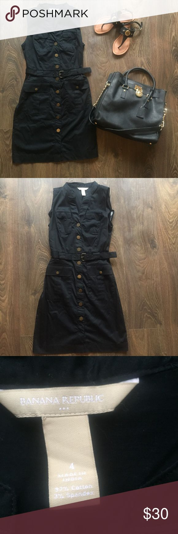 Banana Republic Dress Super chic black button down dress. Can be worn casually or can be dressed up. Dress comes with a black belt. Pairs nicely with a black sandal and a great purse. Banana Republic Dresses Midi