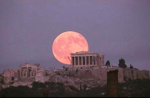 Super moon in Greece. Just a  gorgeous spectacle over the Acropolis