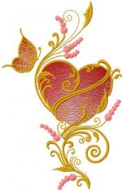 Heart and butterfly free machine embroidery design. Machine embroidery design. www.embroideres.com