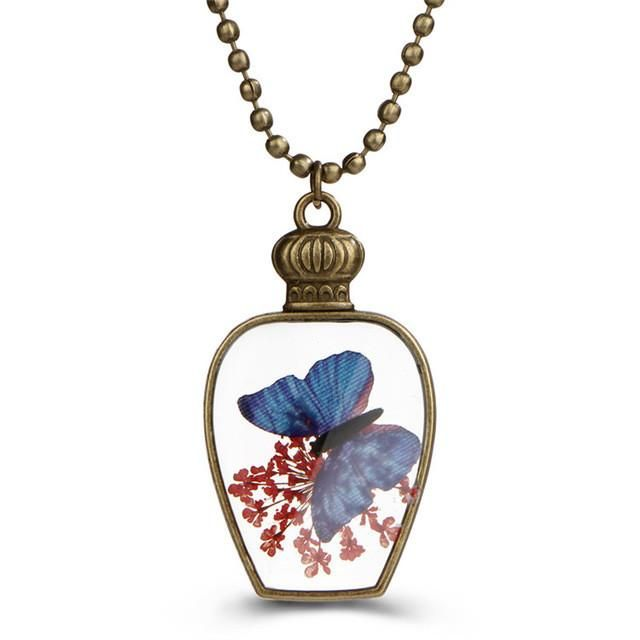 17KM Rope Chian Blue Butterfly Glass Pendant Necklaces For Girls 2017 DIY Handmade Vintage Antique Long Necklace Women Jewelry