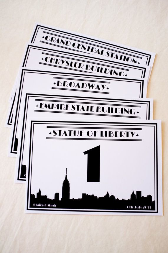 New York City Skyline / Any City Skyline Wedding Table Numbers