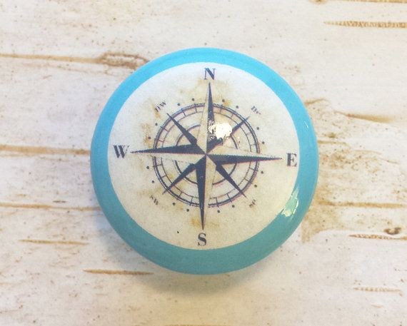 """Nautical Knobs, Island Blue With Navy Blue Antique Style Compass Design, 1.5"""" Handmade Beach Drawer Pulls, Nautical Knob,  Made To Order"""