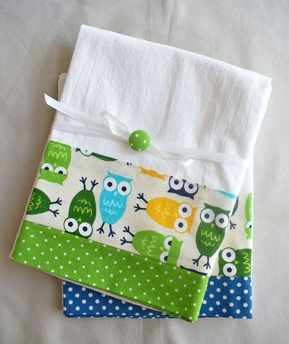 Kitchen towels owls green and blue cotton fabric accent - set of two flour sack towels