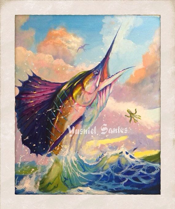 Original sailfish fish painting marlin art on Etsy, $400.00