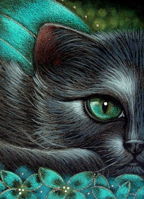 Fantasy Black Cat Fairy Cat 1 by Cyra R. Cancel. #cats #art #cute
