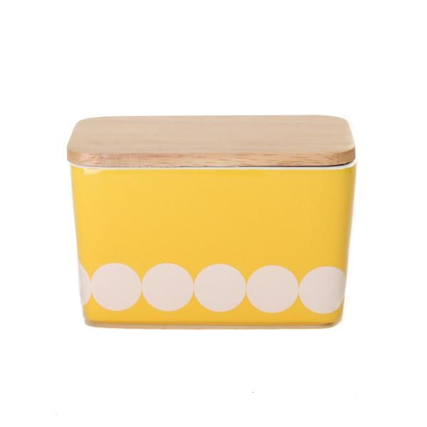 General Eclectic Butter Dish Yellow Dots