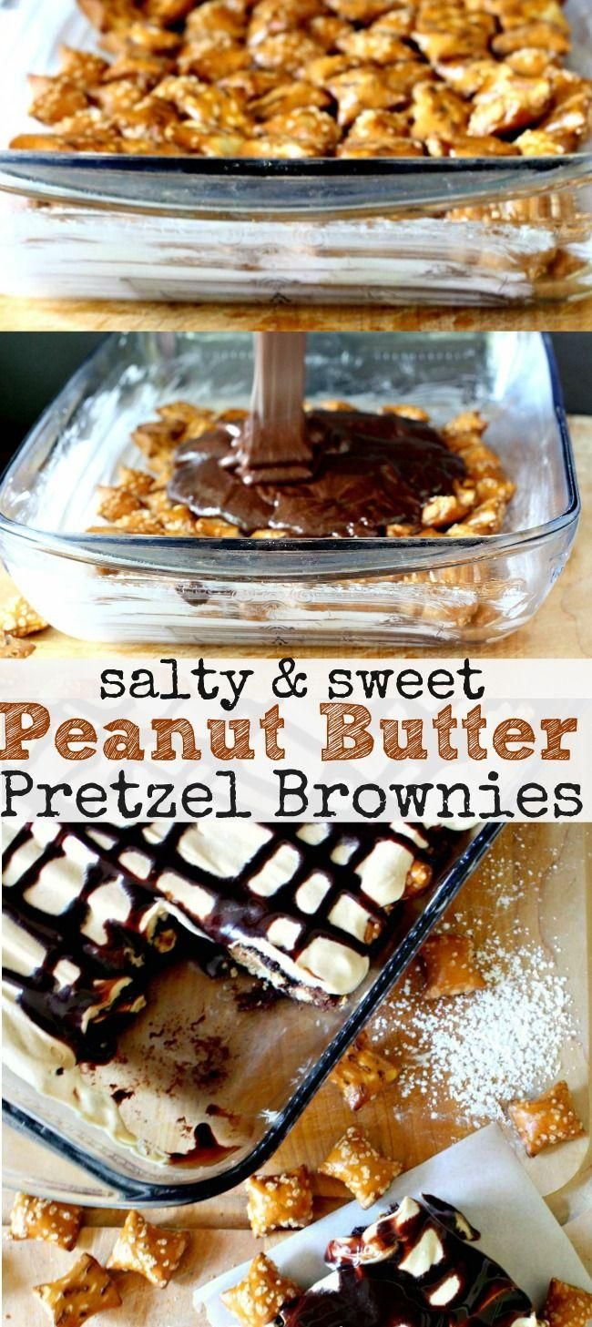 Salty and Sweet Peanut Butter Pretzel Brownies - Love with recipe