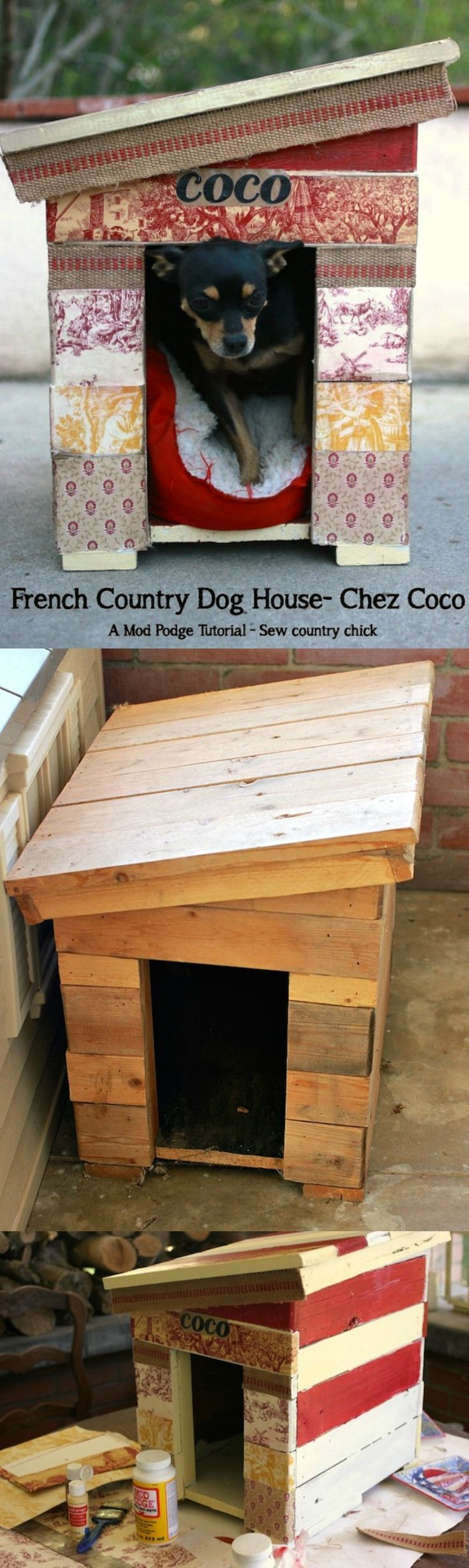 Enter a little Mod Podge, paint, upholstery webbing, and wall paper samples, and voila: a pretty house for my little dog. And I didn't spend anything because I had all the materials on hand!