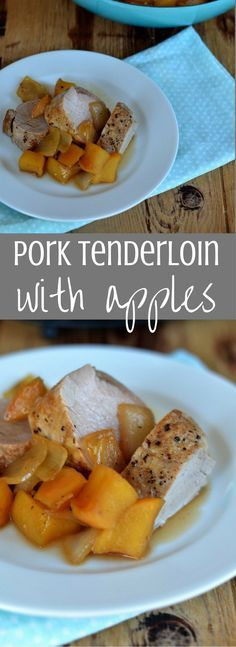 Recipe for Roasted Pork Tenderloin with apples, onions, maple syrup, and a touch of apple cider vinegar. The sweet apples and onions pair perfectly with roasted pork for a dinner the whole family will love!