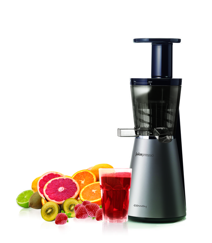 Juicepresso is a cold pressed juicer that is easy to clean, has a sleek design to fit on your kitchen countertop, and is extremely quiet!