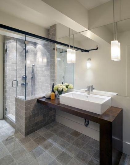 Clean, modern + simple bath.